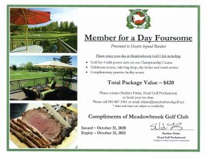Meadowbrooke Foursome Certificate
